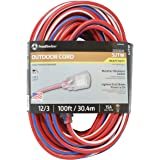 Southwire 2549SWUSA1 100-Feet, Contractor Grade, 12/3 Extension Cord, With Lighted End; Red White And Blue, American…