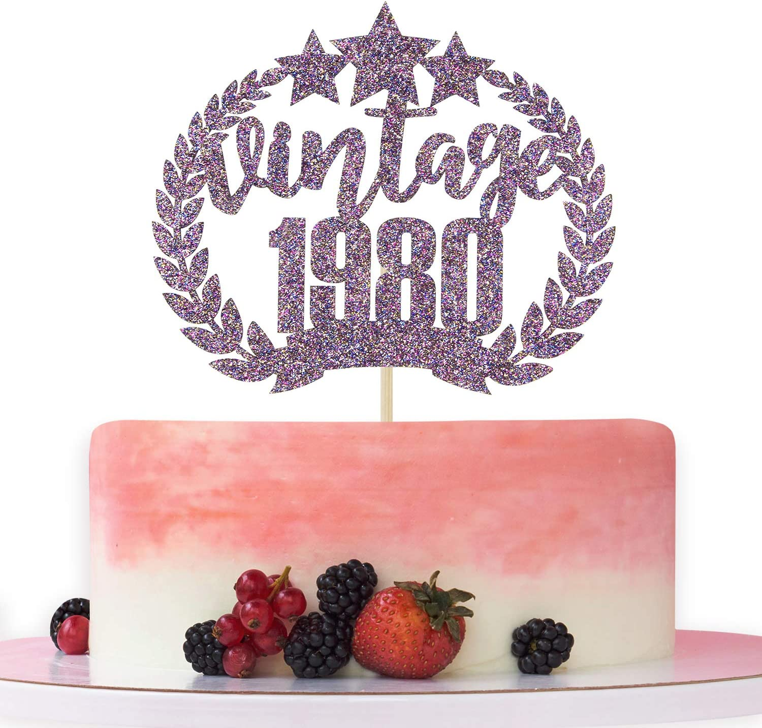 Purple Glitter Vintage 1980 Cake Topper, Happy 40th Birthday Cake Decor - Cheers to 40 Years - 40th Anniversary Party Decoration Supplies