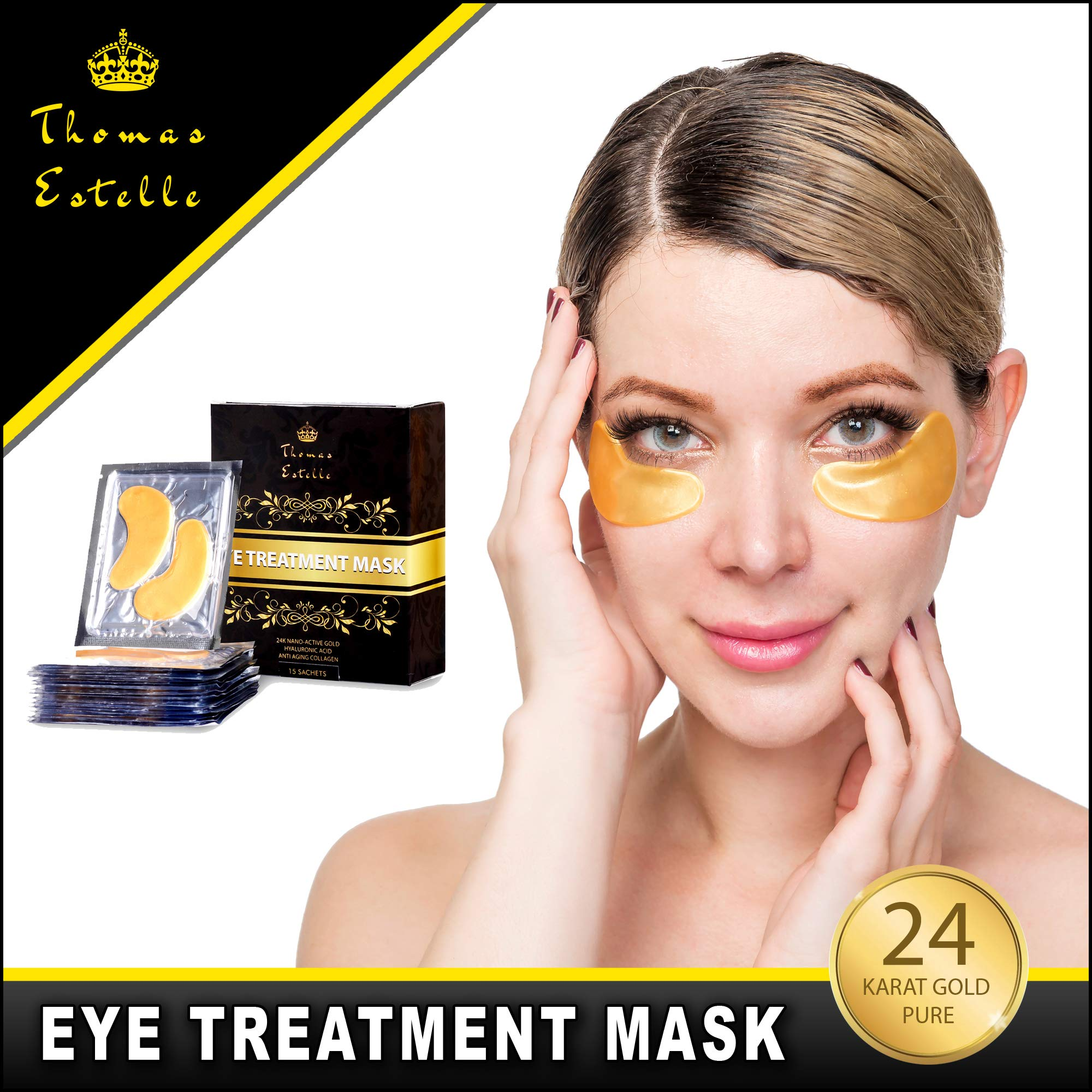 Under Eye Bags Treatment - Gel For Puffiness, Wrinkles, Dark Circles, Crows Feet, Puffy Eyes -24k Gold Luxury - The Best Natural Collagen Mask - Women And Men Masks - Anti Aging Moisturizer Pads by Thomas Estelle (Image #4)