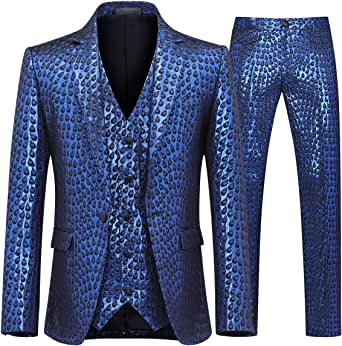 Mens 3 Piece Suit Slim Fit Stylish Printed Floral Dress Suit One Button Notched Lapel Prom Tuxedo