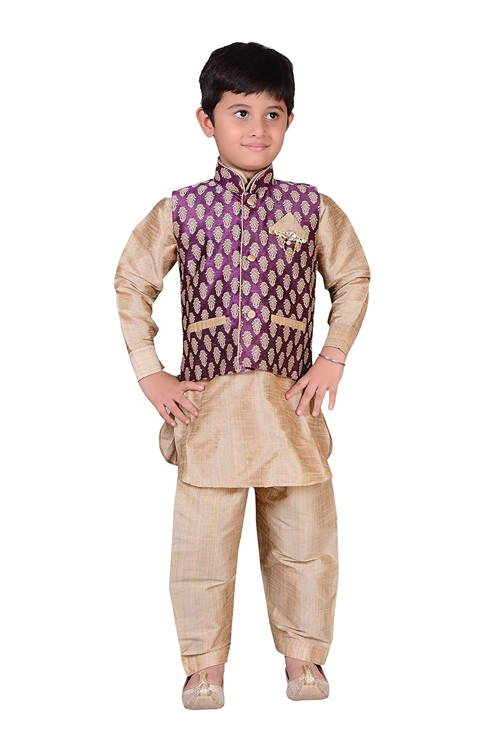 Indian Boys Sherwani kids Kurta with salwar and waistcoat vest Costume 873