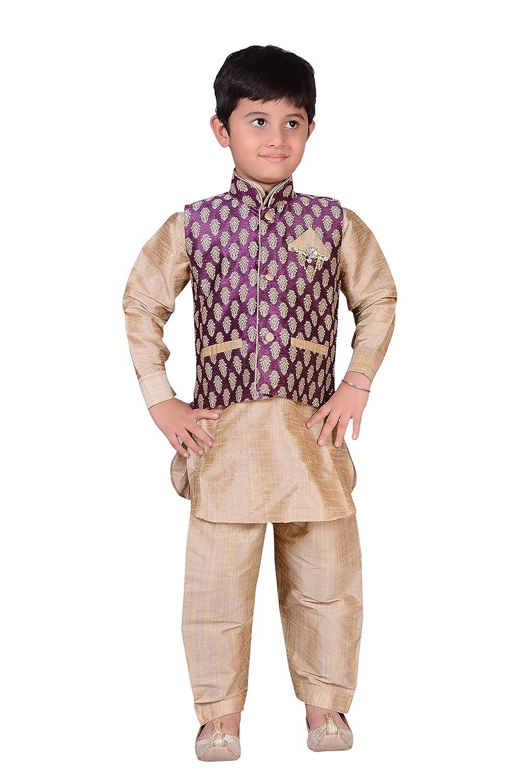 Indian Boys Sherwani kids Kurta with salwar and waistcoat vest Costume 873