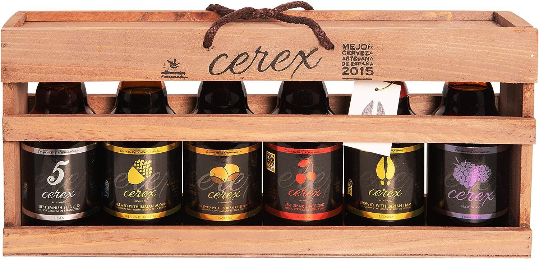 CEREX – Pack Degustación 6 Cervezas Artesanas Españolas - Caja Regalo Presentación Madera – Cerveza de Cereza, Castaña, Pilsen, Andares, Bellota y Frambuesa