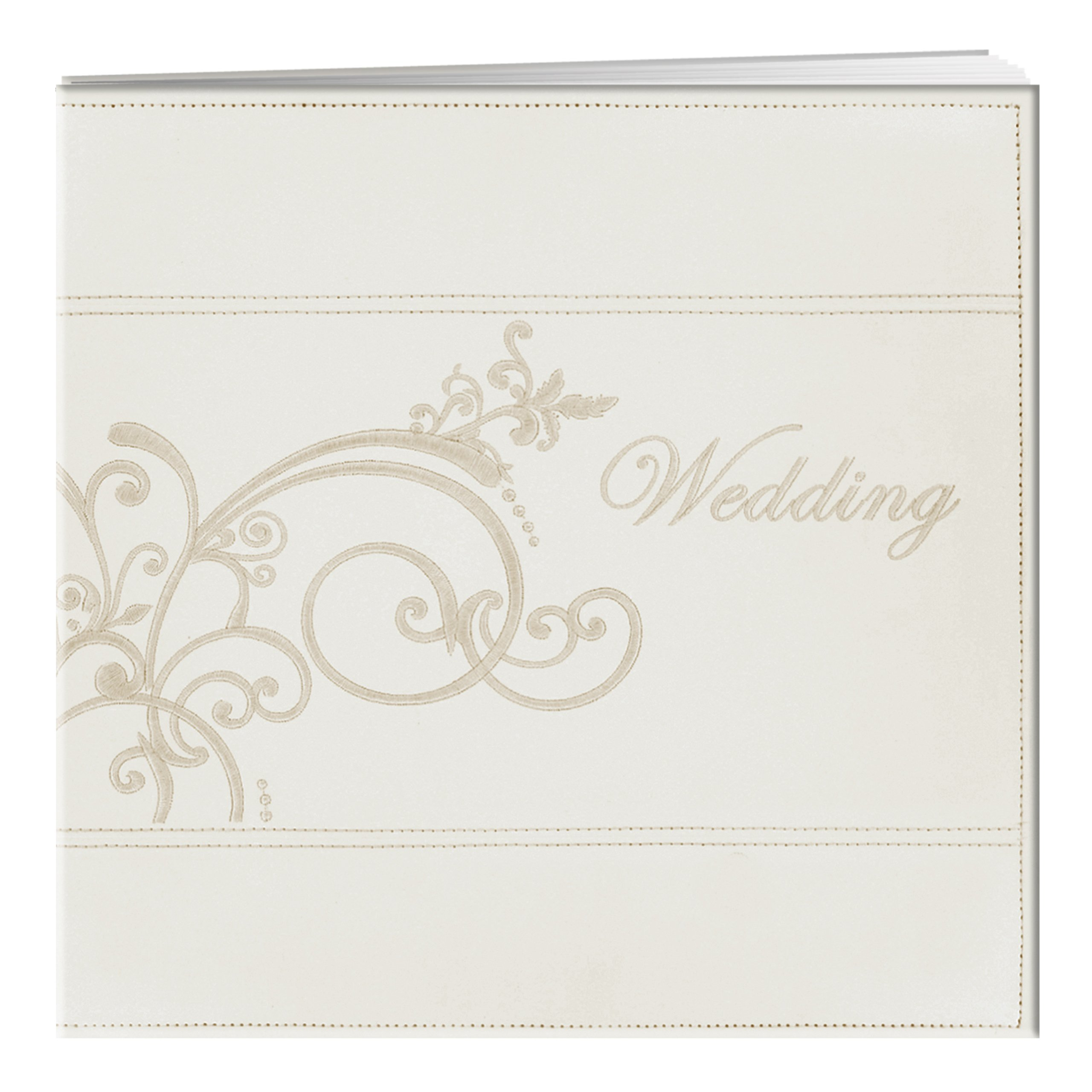 Pioneer 12-Inch by 12-Inch Postbound Embroidered Scroll and ''Wedding'' Sewn Leatherette Cover Memory Book, Ivory