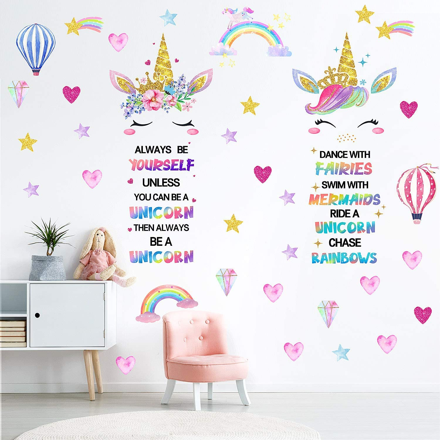 Unicorn Wall Decor,Large Size Unicorn Wall Decals Stickers Decor for Gilrs Kids Bedroom Birthday Party