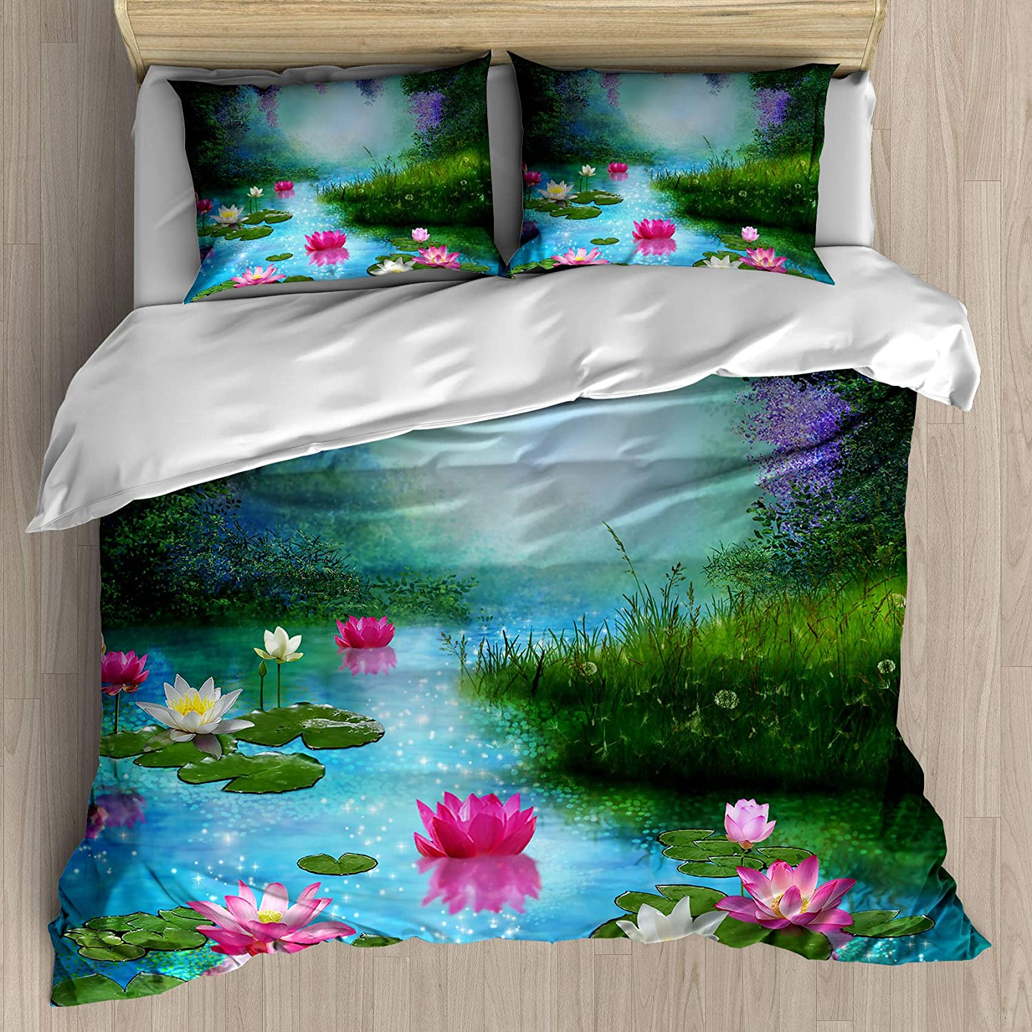 FEIDANNO Flowers Duvet Cover Set Queen Size, Fantasy Pond with Water Lilies Floating Romantic Lotus Fairy Tale Digital Art, Decorative 3 Piece Bedding Set with 2 Pillow Shams,(Dark Blue,Queen)