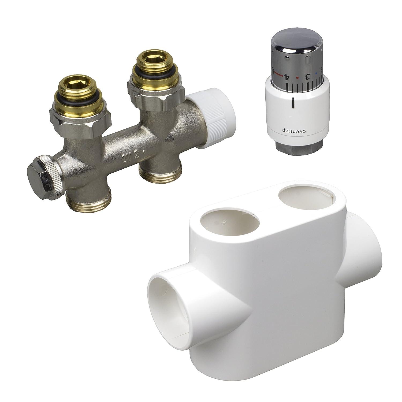 OVENTROP Multiblock T Raccord à préréglage et le Thermostat Uni SH. 1012065, Oventrop Zubehör Set:Chromé Oventrop Zubehör Set:Chromé