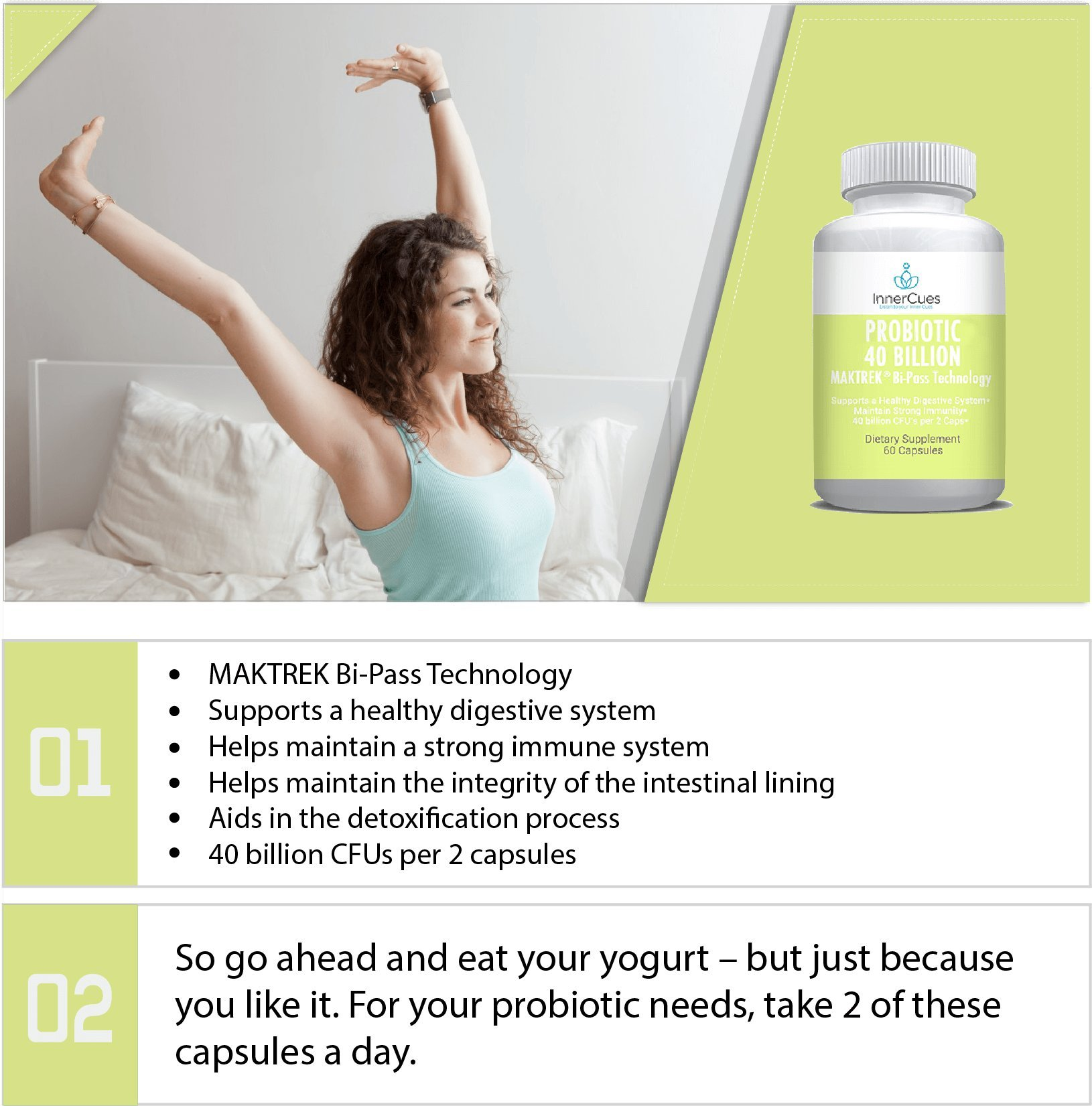 Probiotic Supplement for Men and Women, 40 Billion CFU Probiotics. Natural Digestive Immune System Booster. Advanced Pro Biotic Health Essentials Product for Adults, Daily Dietary Capsules 60 Caps
