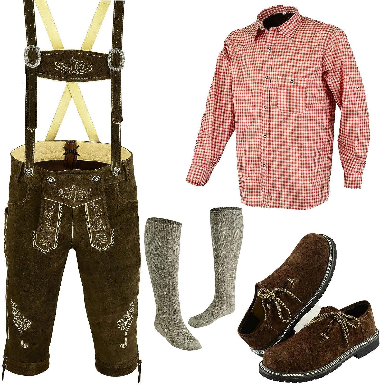 Authentic German Bavarian Oktoberfest Trachten Men Wear Short Lederhosen Outfit