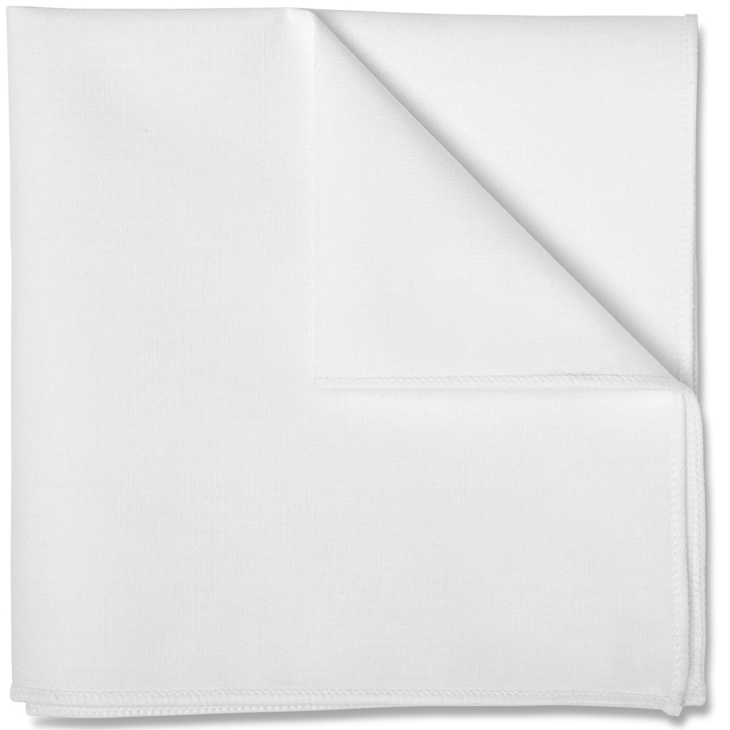Pocket Square 100% Cotton White Premium Stitching by Puentes Denver (Various Colors) PC-PSQ-WHT