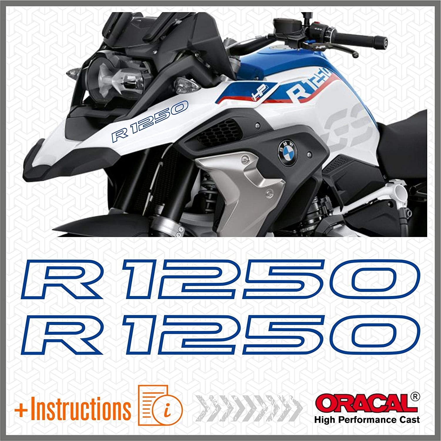 Light Blue 2pcs adh/ésif R1250GS Adventure Compatible avec Les Motos BMW Motorrad R1250 GS R 1250 HP Touratech y GIVI Trekker Outback 37L 48L