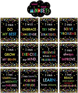 Growth Mindset Posters Bulletin Board Display Set Confetti Positive Sayings Accents What is Your Mindset for Classroom Decoration