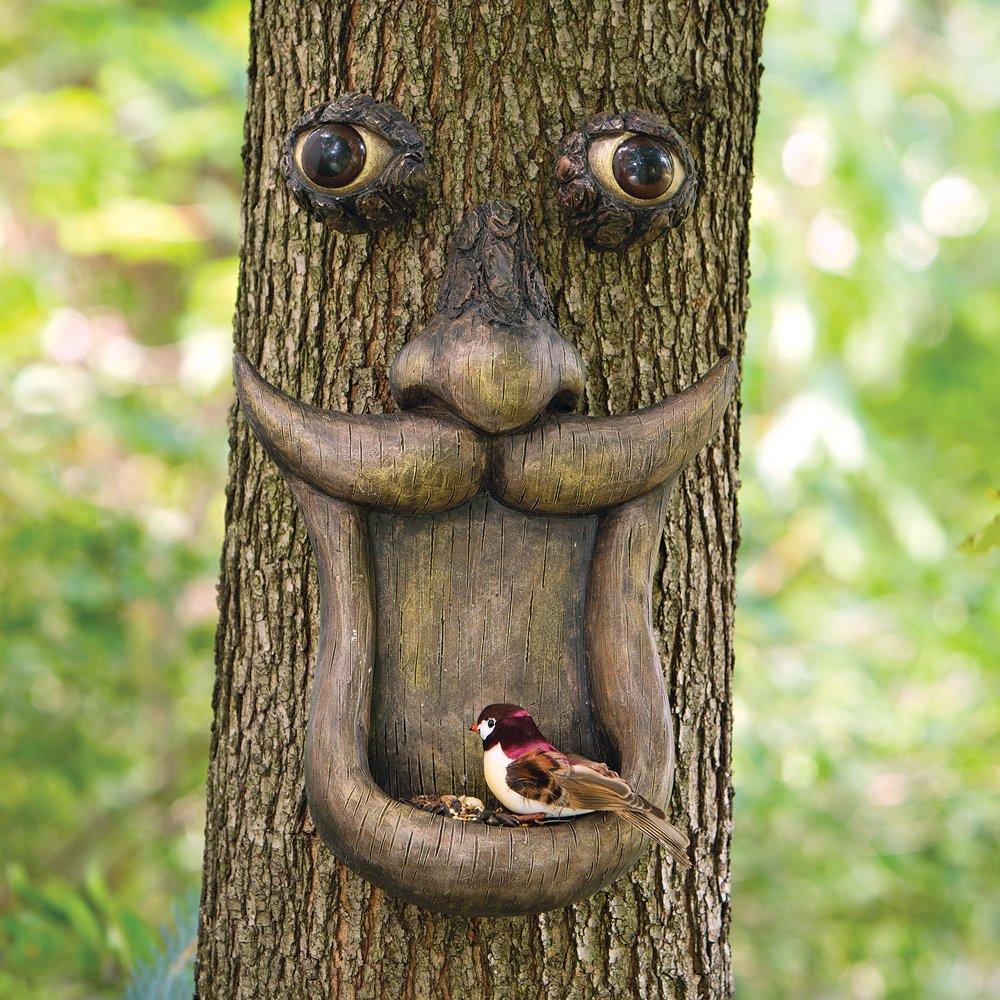 Bits and Pieces - Tree Face Birdfeeder - Outdoor Tree Hugger Sculpture - Whimsical Garden Decoration and Wild Birdfeeder