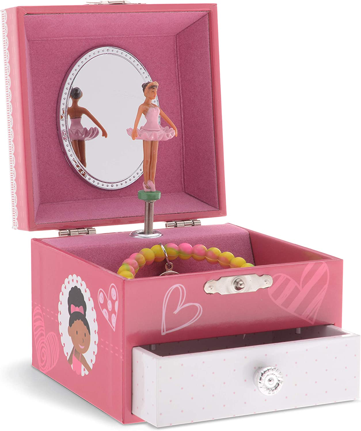 Classic Design Ballerina Mirror Swan Lake Tune Rose Pink JewelKeeper Girls Wooden Musical Jewelry Box Pullout Drawers