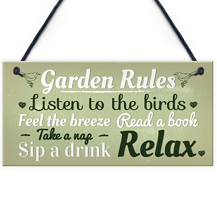 Garden Rules Novelty Hanging Plaque Summer House Sign Garden Shed Friendship Gift