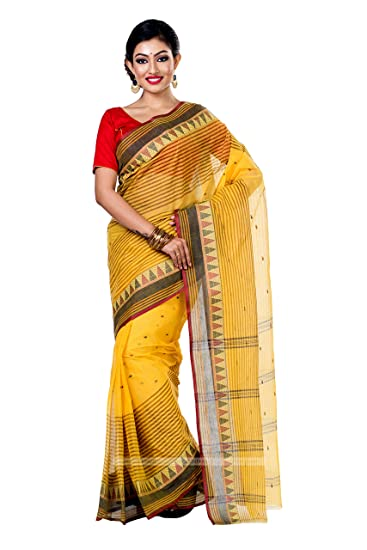 875c4eca8f1bd8 WoodenTant Cotton Tant Saree in Yellow with Temple Border - WCS73   Amazon.in  Clothing   Accessories
