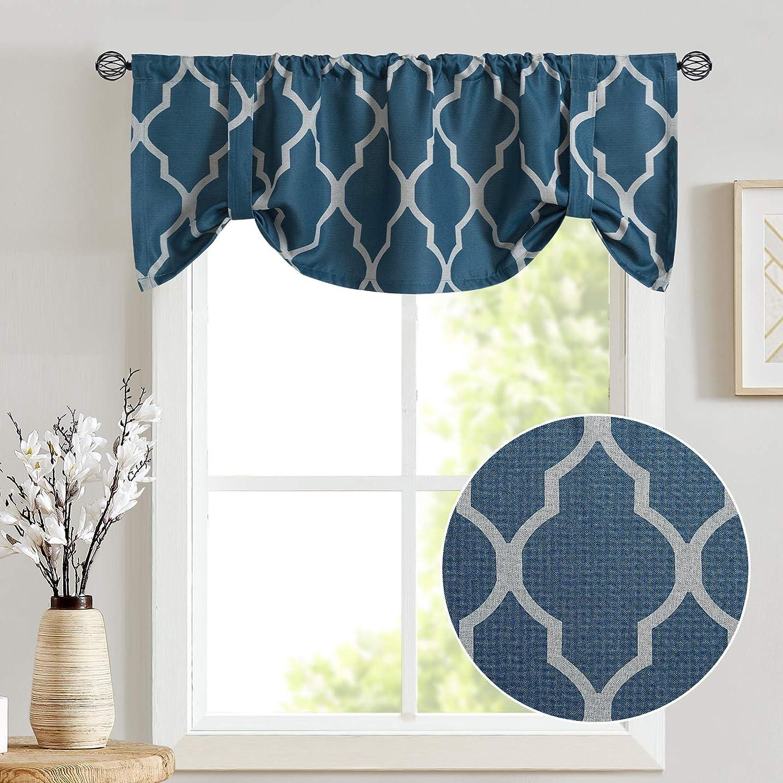 Tie Up Valance Moroccan Tile Print Curtain Valance Bedroom Curtain Quatrefoil Flax Linen Blend Textured Geometry Lattice Rod Pocket Window Treatment Set Living Room 1 Panel 18 L Blue Kitchen