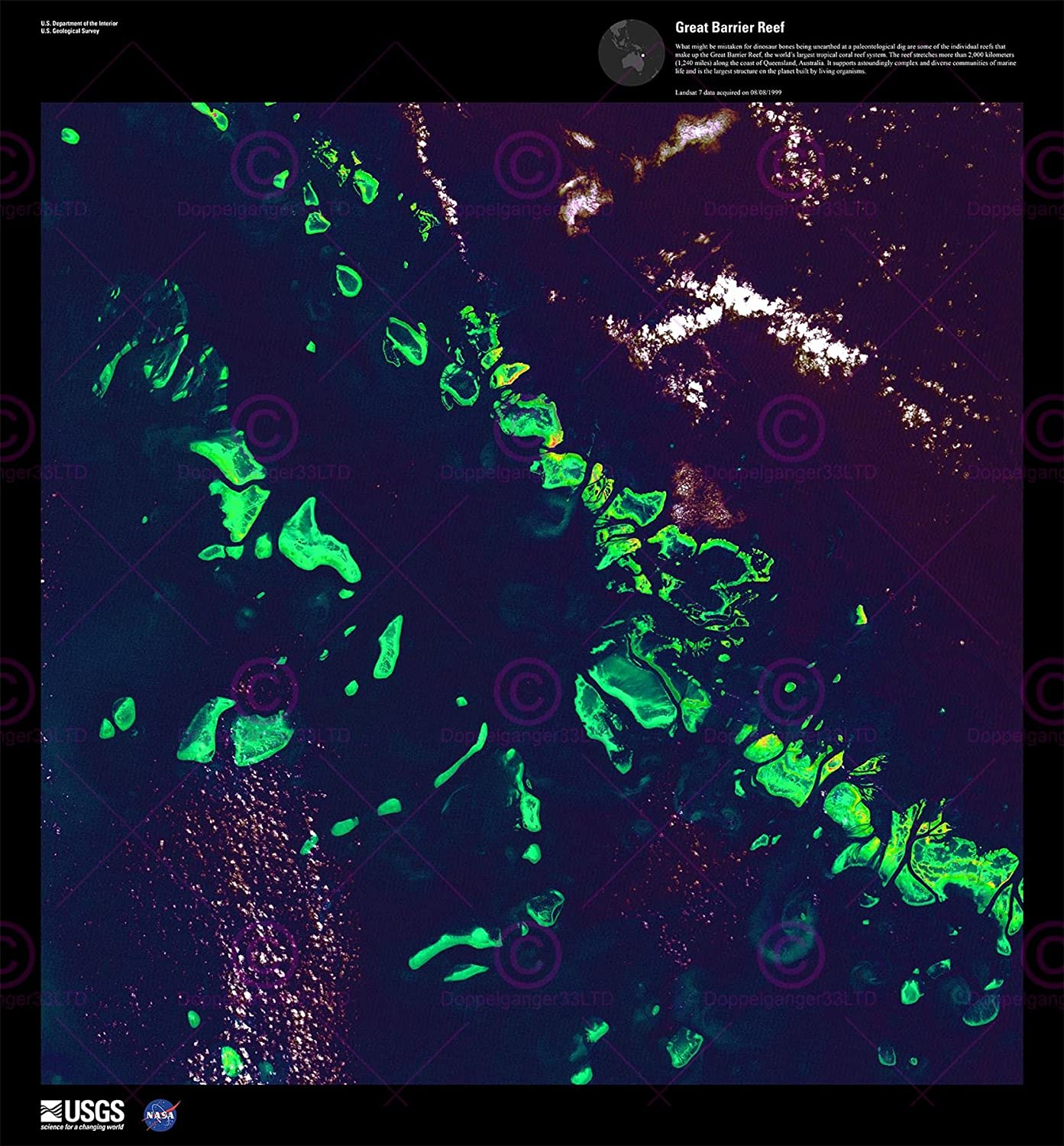 Amazon Com Science Map Satellite Great Barrier Reef