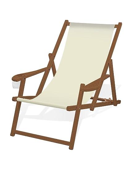 Liegestuhl Holz Mit Armlehne.Amazon De Holz Liegestuhl Mit Armlehne Und Getränkehalter
