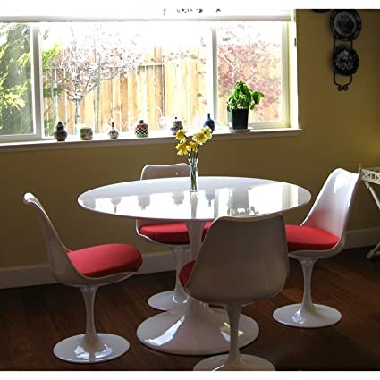 Peachy Modway Lippa Mid Century Modern 40 Round Fiberglass Dining Table In White Home Interior And Landscaping Ologienasavecom