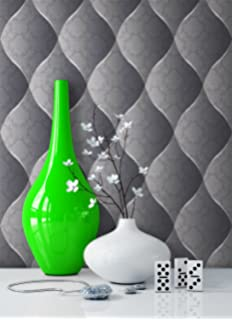 Tapete Edel Vinyl in Grau , schönes Floral Design und purer Luxus ...