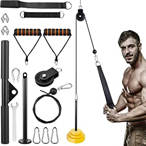 KOVEBBLE Fitness LAT and Lift Pulley System with Loading Pin Tricep Strap Bar Cable Rope Machine for Muscle Strength, Home Workout Gym Equipment for Pulldowns, Biceps Curl, Forearm, Workout