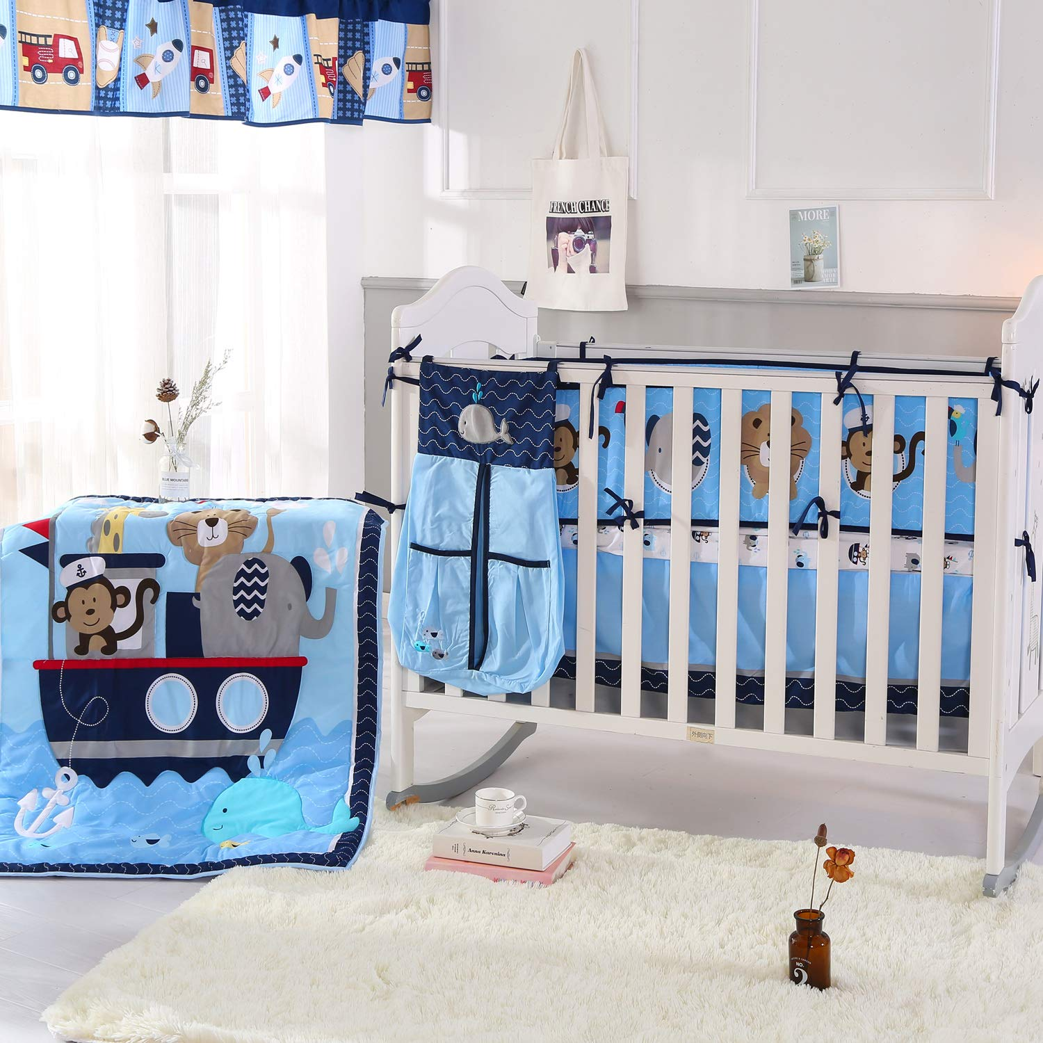 Wowelife Animal Baby Crib Sets Blue Upgraded 9 Piece Monkey Elephant Lion and Giraffe Crib Bedding Sets Cotton with Bumpers and Diaper Stacker(Sea Journey)