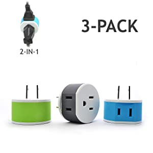 Japan, Philippines Power Plug Adapter by OREI with 2 USA Inputs - Travel 3 Pack - Type A (US-6) Safe Use with Cell Phones, Laptop, Camera Chargers, CPAP, and More