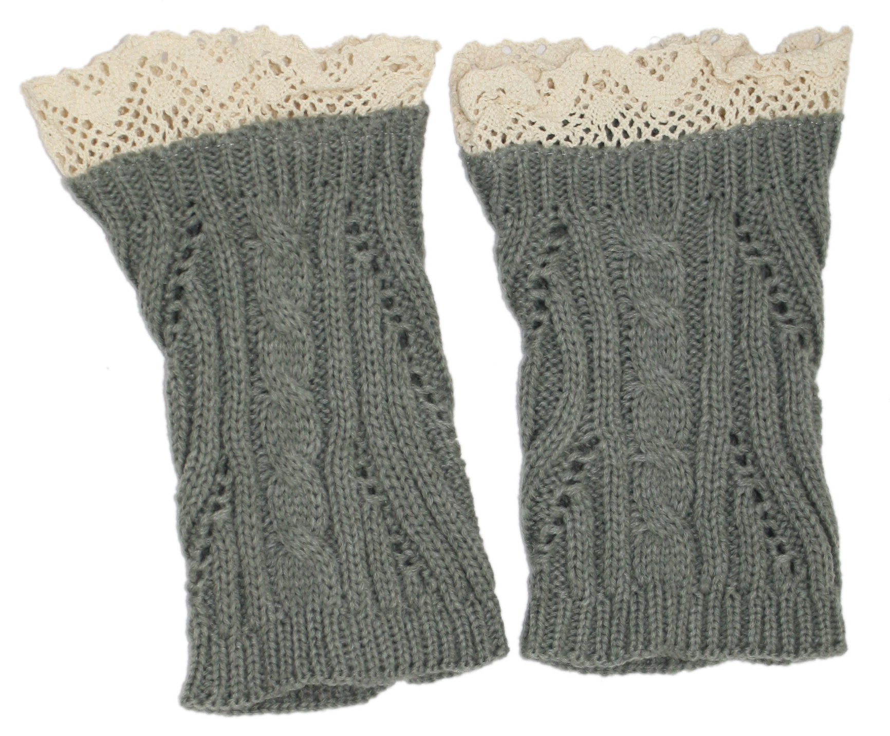 Modern Minute - Lace Top Twisted Cable Knit Legwarmer Boot Topper in Grey