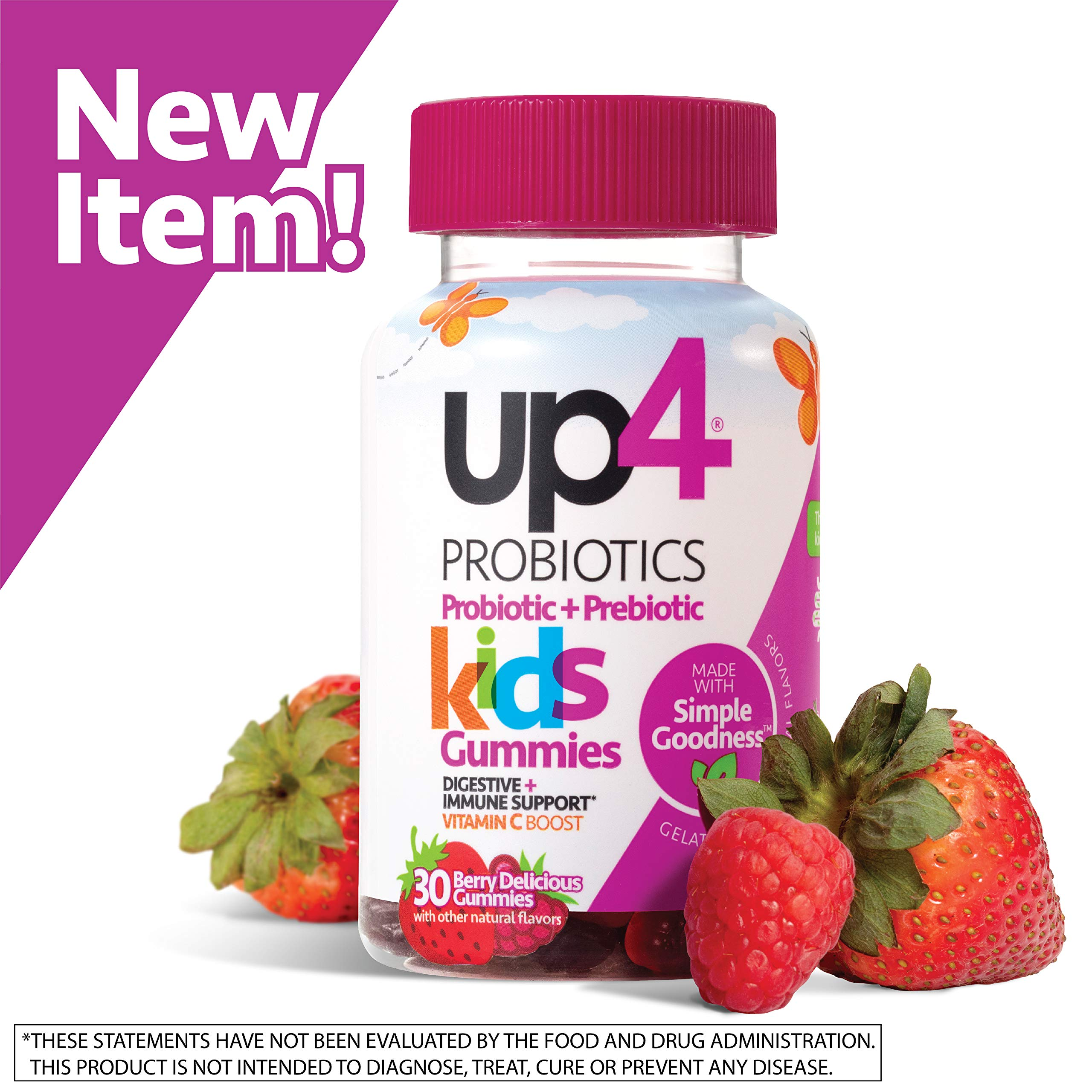 up4 Kids Probiotic Gummies | Digestive and Immune Support | Gelatin-free, Vegan, Non-GMO | With prebiotic and vitamin C | For ages 3+ | 30 count by up4