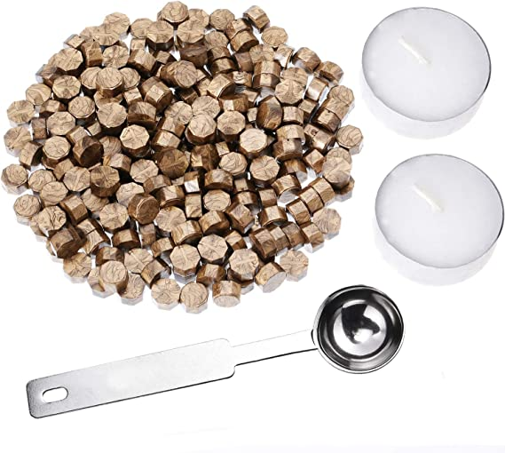 Blu Royal Ottagono Kit Perle Ceralacca Confezionato in Lattina Sigillo di Cera da 9 mm con 2 pz Candele da t/è Bianco 1 Cucchiaio di Fusione Metallo CRASPIRE Perline con Sigillo di Cera 210PCS