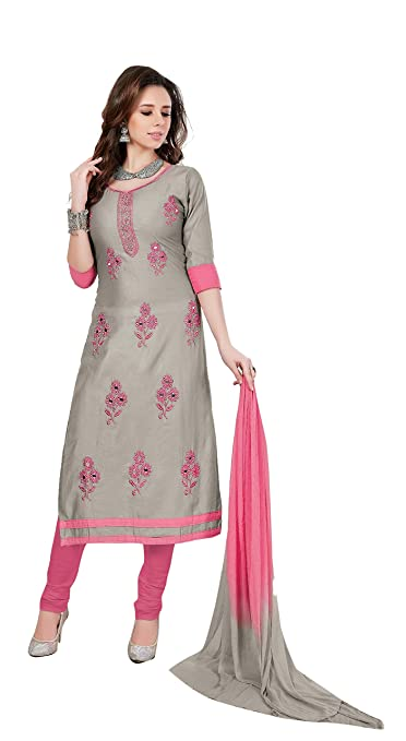 OOMPH! Women's Dress Material (rbrf_riya509_Sapphire Light Grey and Pink_Free Size) Dress Material at amazon