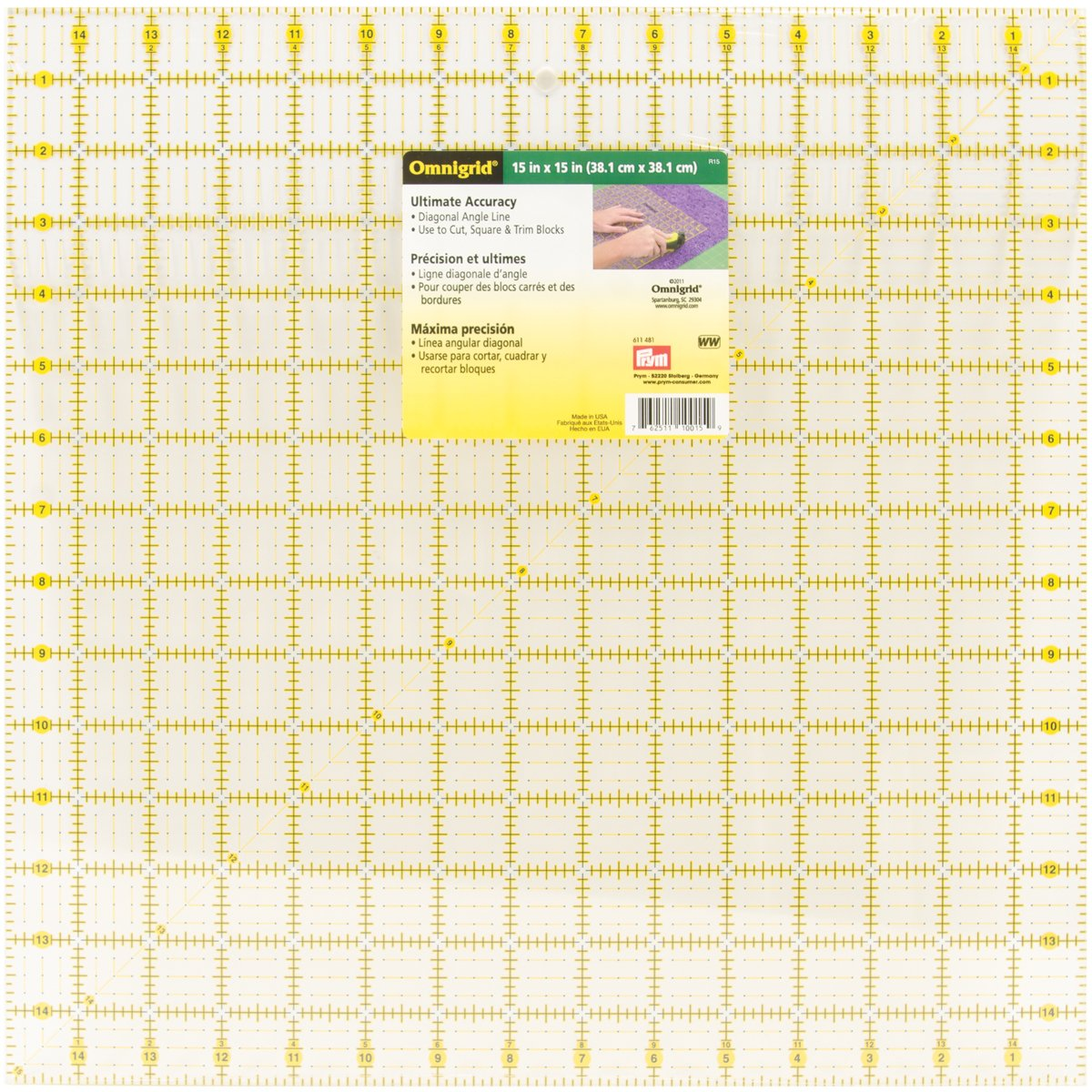 Dritz Omnigrid 15-Inch by 15-Inch, Quilter's Square Quilter's Square R15