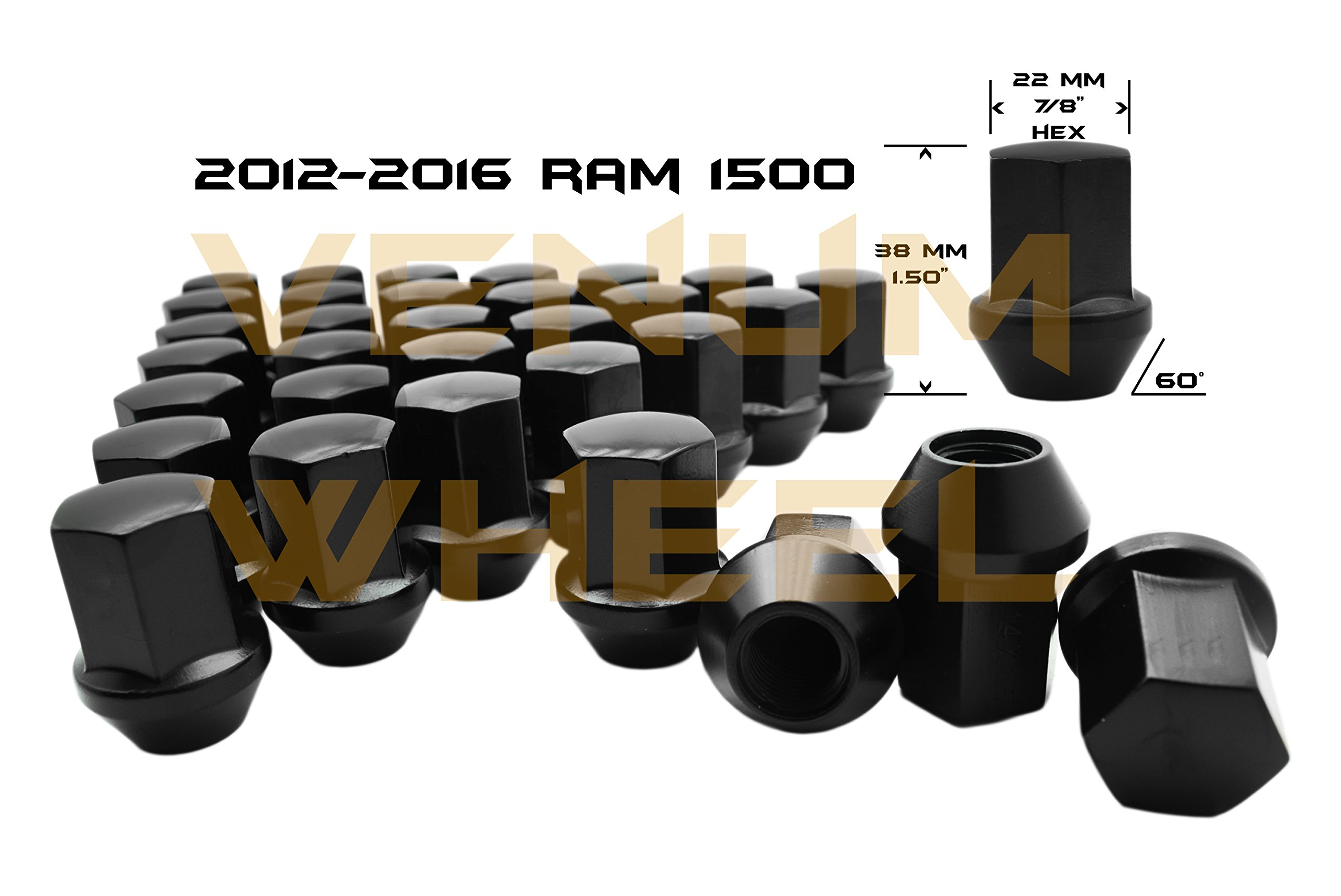 Venum wheel accessories 2012-2019 Ram 1500 Black OEM Factory Style Black Lug Nuts M14x1.5 W/ 22MM Hex Close End 1.5'' Tall 5x5.5 New Model Ram 1500 Made in USA