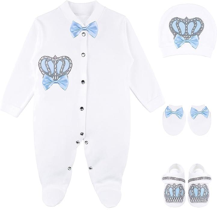 a04330971 Amazon.com  Lilax Baby Boy Jewels Crown Layette 4 Piece Gift Set 0-3 ...