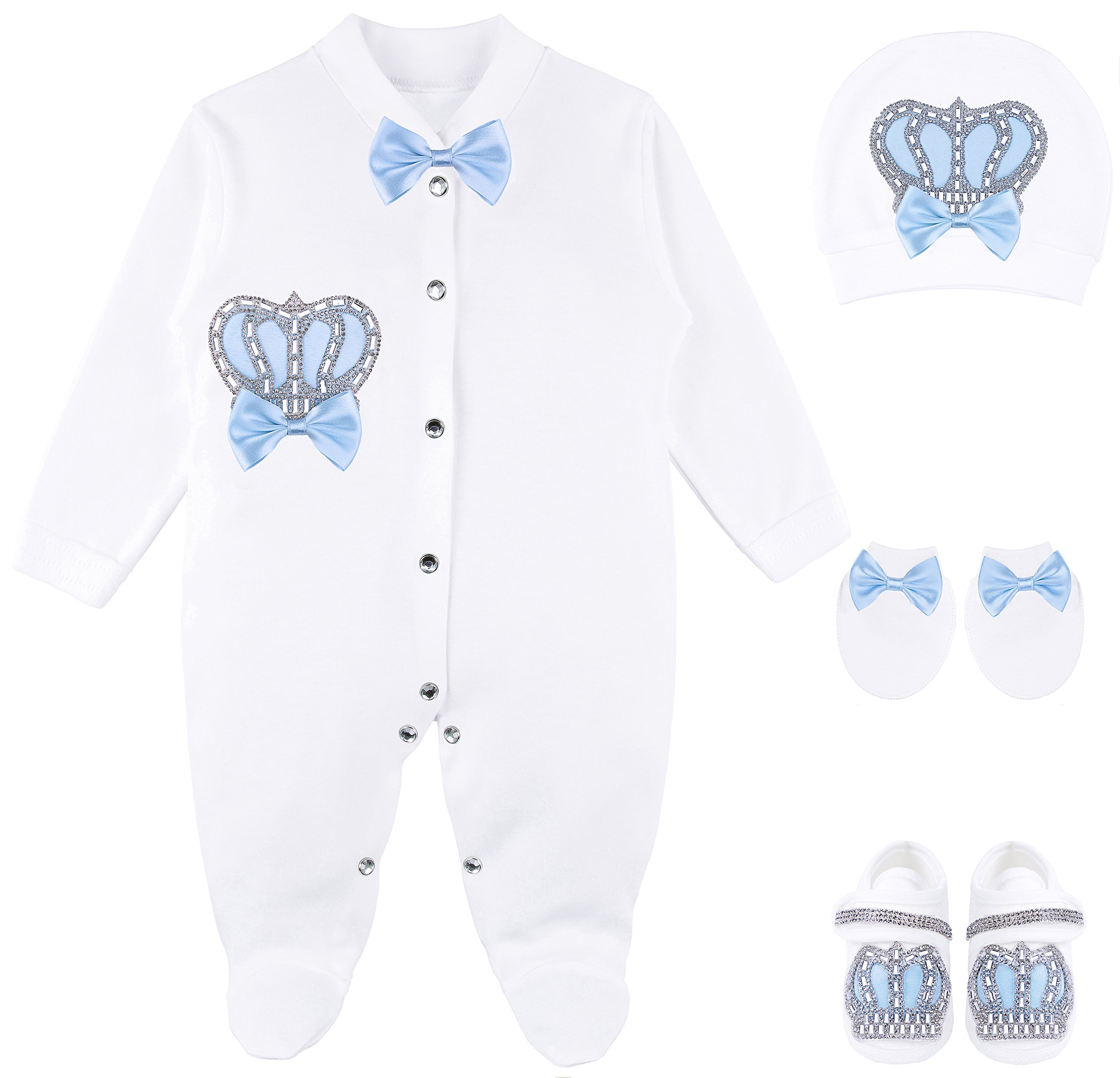 Lilax Baby Boy Jewels Crown Tuxedo Outfit Layette 5 Piece Gift Set 0-3 Months