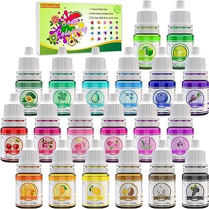 Colorante Jabón 20 Colores - Colorante de Bomba de Baño Líquido para Fabricación de Jabón, Limo - Tinte de Bomba de Baño para Kit de Suministros de ...