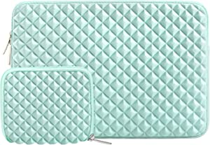 MOSISO Laptop Sleeve Compatible with 13-13.3 inch MacBook Pro, MacBook Air, Notebook Computer, Diamond Foam Neoprene Bag Cover with Small Case, Mint Green