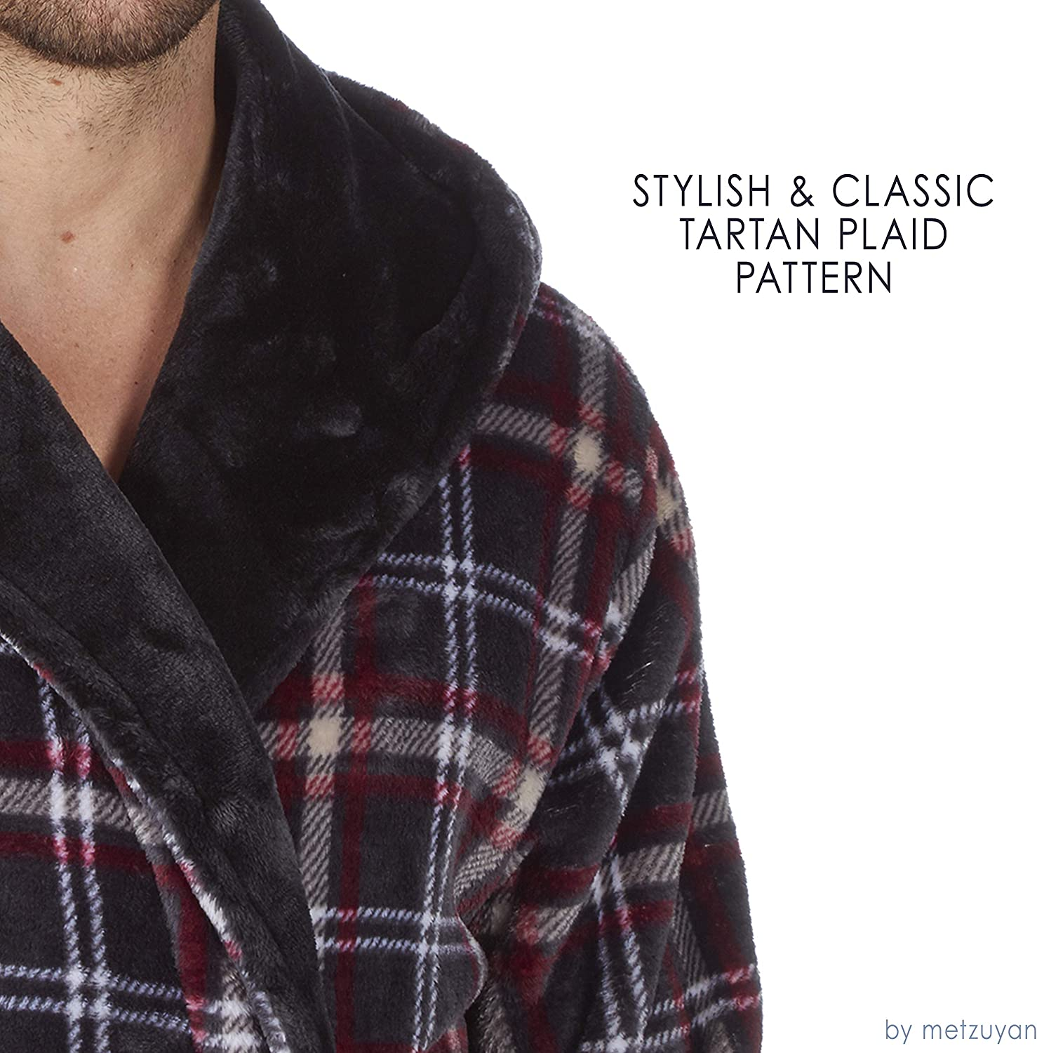 Pierre Roche Mens Hooded Flannel Fleece Dressing Gown