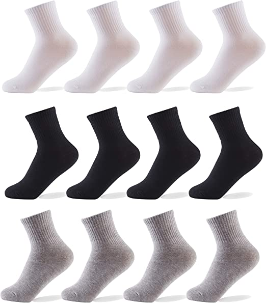 Oohmy Boys Socks 12 Packs Fit for 2-12 Years Old Boys and Girls Cotton Athletic Ankle Socks for Toddler Kids and Big Kids