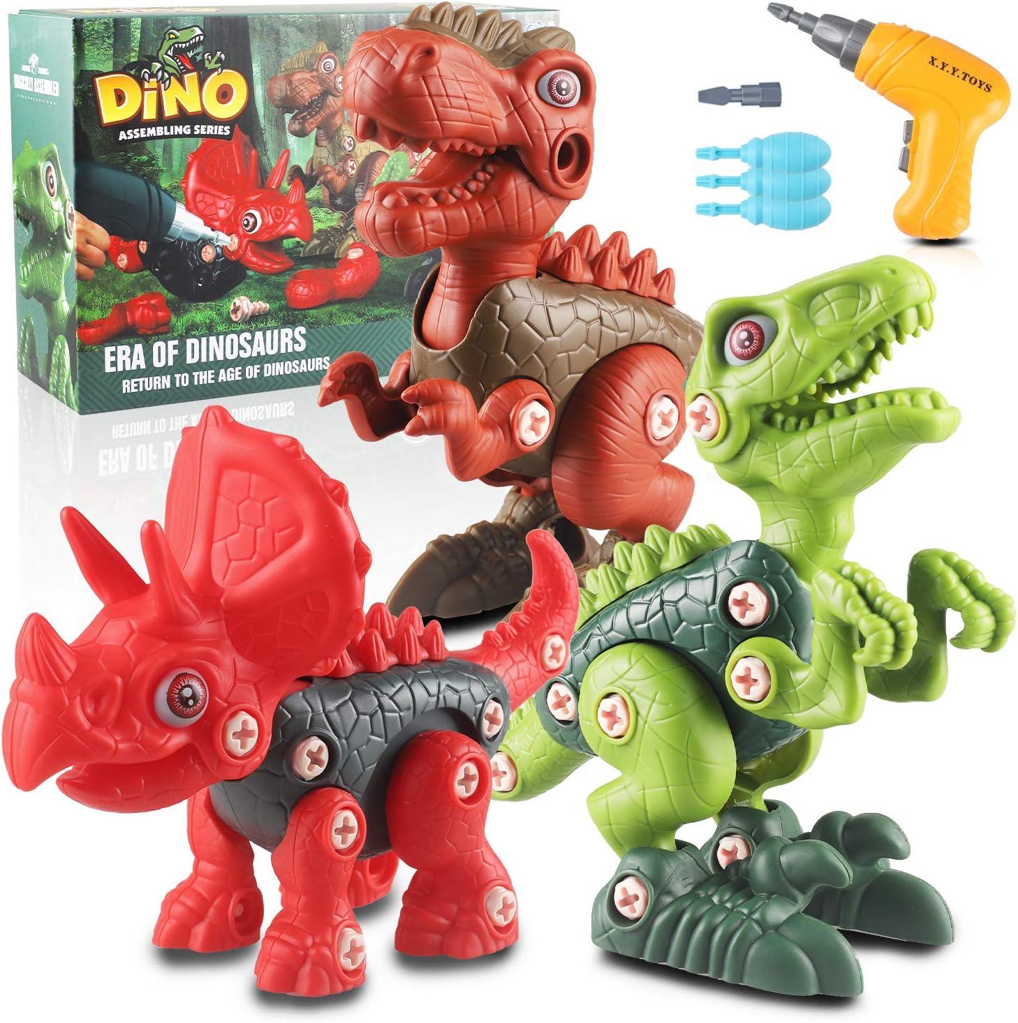 aovowog Dinosaurios Juguetes Puzzle Desmontar Dinosaurio con Taladro DIY Juego Construccion Tyrannosaurus Rex y Velociraptor y Triceratops Gran Regalo Educativo para Niños 3 4 5 6 7 8 9 10 Años