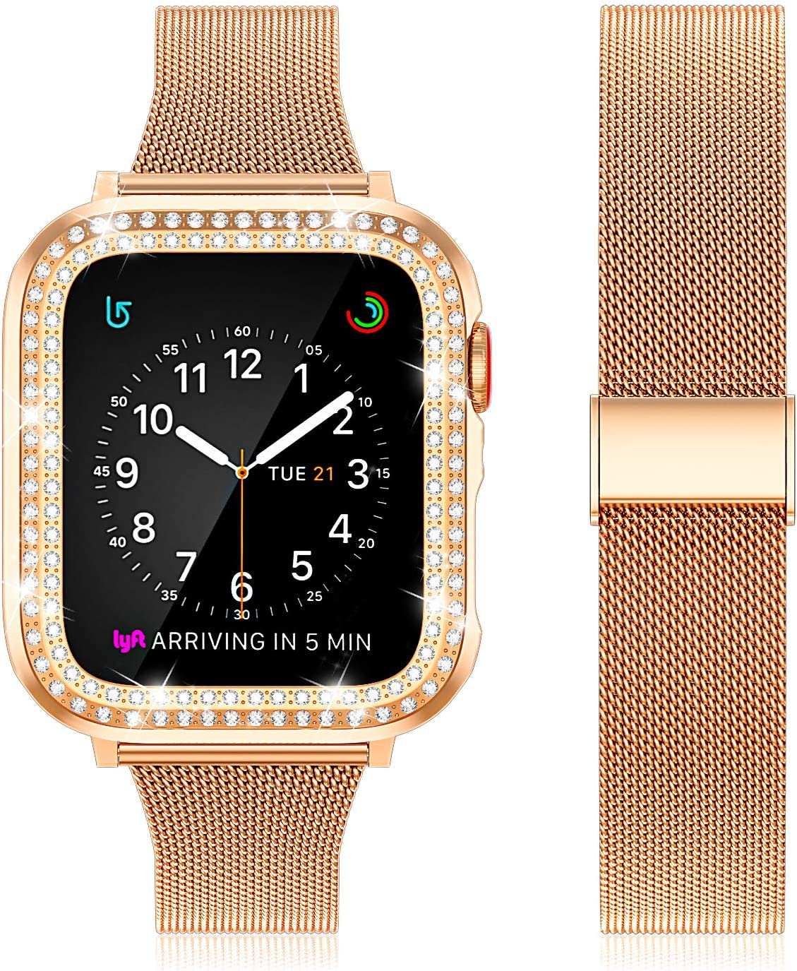 Beuxece Stainless Steel Mesh Band Compatible with Apple Watch Band Series SE/6/5/4/3/2/1 with Diamond Case, Band Slim Metal for iWatch 38mm 40mm 42mm 44mm Bracelet Replacement,RoseGold,40mm
