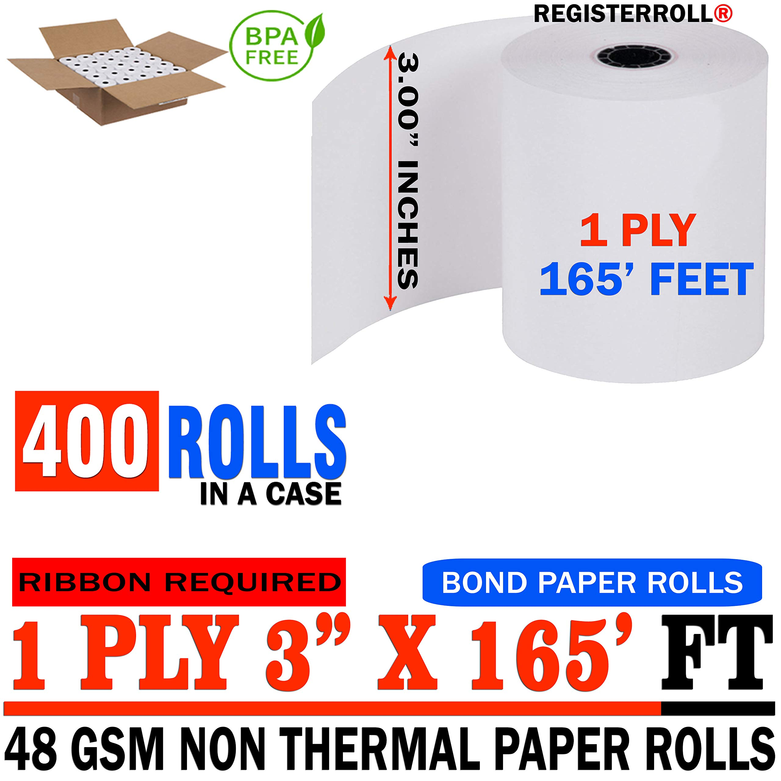Star MICRONICS SP700 (All) 1-Ply 3 inch x 165' Paper 400 Rolls | Premium Value Pack | from RegisterRoll by REGISTERROLL (Image #1)