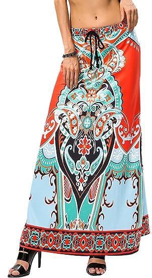 36c50d1e266e SZIVYSHI Taille Haute Baroque Ethnique Tribal Africain Aztèque Paisley à  Fleurs Long Longue Maxi A Line
