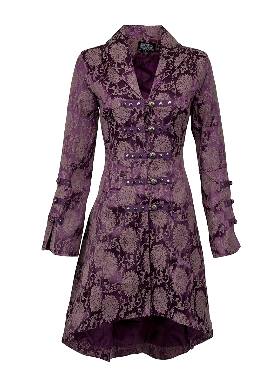 Women's Purple Floral Damask Lady Pirate Captain Coat - DeluxeAdultCostumes.com