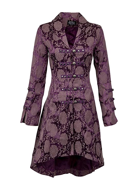Steampunk Jacket | Steampunk Coat, Overcoat, Cape Womens Purple Brocade Gothic Steampunk Floral Jacket Coat $69.90 AT vintagedancer.com