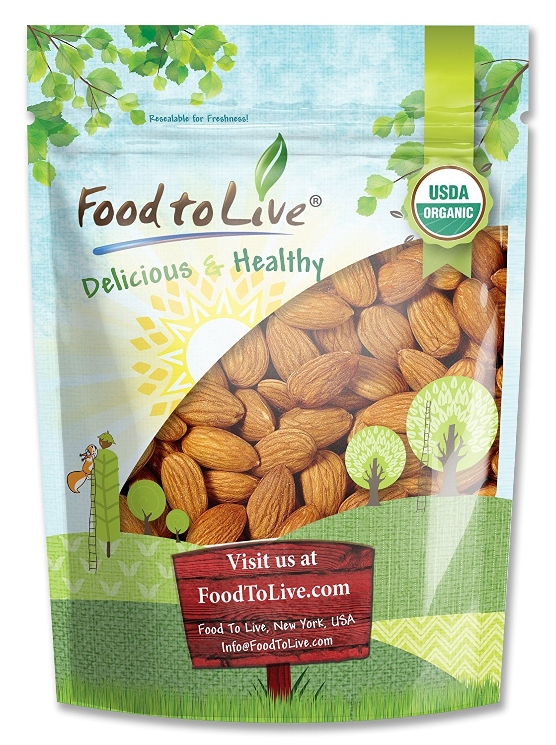 Organic Almonds, 3 Pounds - Non-GMO, Kosher, No Shell, Whole, Unpasteurized, Unsalted, Raw, Bulk