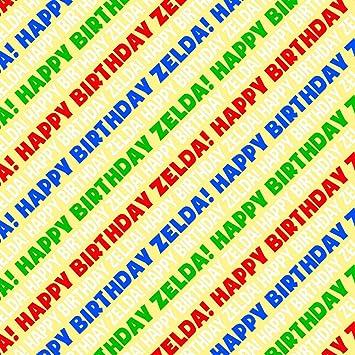 Amazon.com: Zelda feliz cumpleaños papel de regalo Premium ...