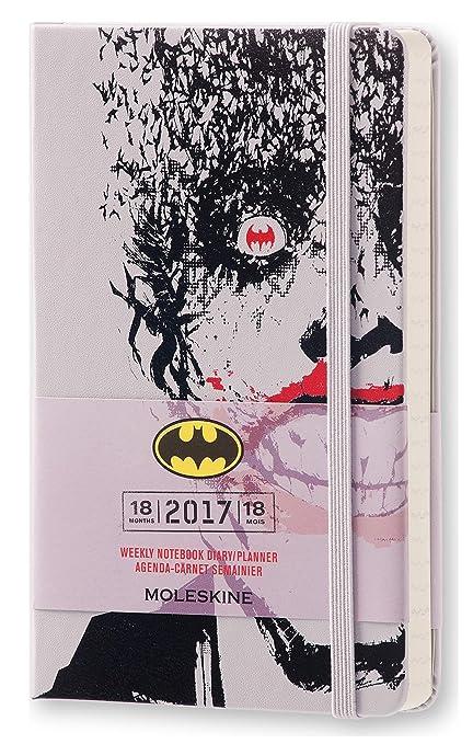Moleskine DBA18WN2Y17 - Agenda semanal 18 meses, diseño Batman, edición limitada, pocket 9 x 14, color gris aster