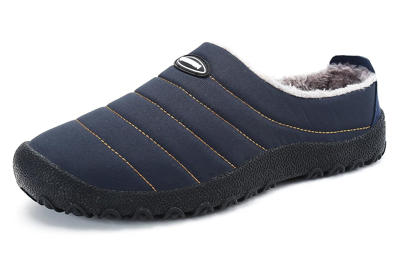 Herren Damen Winterschuhe Warm Winter Hausschuhe Anti Rutsch Wasserdicht Slippers Outdoor Freizeit Schuhe Santimon Blau